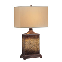 Lite Source Kingsley 1 Light Table Lamp in Rusted Gold and Painted Glass with Beige Fabric Shade LS-21214