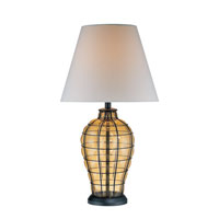 Lite Source Abeilles 1 Light Table Lamp in Black and Light Amber Glass with Linen Shade LS-21320