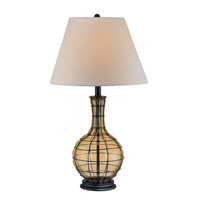Lite Source Abeilles 1 Light Table Lamp in Black and Light Amber Glass with Linen Shade LS-21321