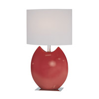 Lite Source Spazio 1 Light CFL Table Lamp in Red with Off-White Fabric Shade LS-21335RED