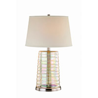 Lite Source Tecza II 1 Light Table Lamp in Polished Steel and Iridescent Glass with Fabric Shade LS-21356