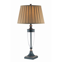 Lite Source Fergal 1 Light Table Lamp in Dark Bronze and Marble Base with Pleated Shade LS-21415