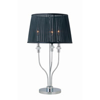 Lite Source Marrim 3 Light Table Lamp in Chrome with Black Organza Shade LS-21471C/BLK