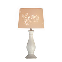 Lite Source Morris 1 Light CFL Table Lamp in Ivory Ceramic with Laser Cut Shade LS-21488IVY