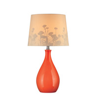 Lite Source Edaline 1 Light CFL Table Lamp in Orange Ceramic with Silhouette Paper LS-21489ORN