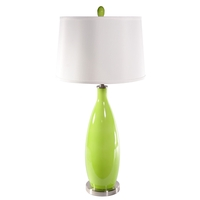 Lite Source Gillespie 1 Light CFL Table Lamp in Polished Steel and Light Green Glass with Fabric Shade LS-21500L/GRN