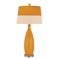 Lite Source Gillespie 1 Light CFL Table Lamp in Polished Steel and Orange Glass with Fabric Shade LS-21500ORN