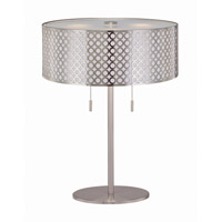Lite Source Netto 2 Light CFL Table Lamp in Polished Steel with Metal Cut-Out Shade with Liner LS-21519PS
