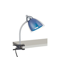 Lite Source Selika 1 Light CFL Clamp-on Lamp in Chrome with Blue Acrylic Shade LS-21613C/BLU