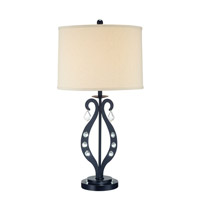 Lyre 30 inch 23 watt Black and Crystal Table Lamp Portable Light