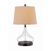 Lite Source Hendrick 1 Light CFL Table Lamp in Dark Bronze and Clear Glass with Light Beige LS-21658