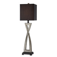 Lite Source Raphaela 1 Light CFL Table Lamp in Aged Ivory with Black Fabric Shade LS-21880