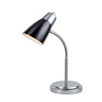 Lite Source Janli 1 Light CFL Desk Lamp in Polished Steel with Black Shade LS-21912PS/BLK