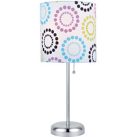 Lite Source Chrina 1 Light CFL Table Lamp in Polished Steel with Colored Fabric Shade LS-21915