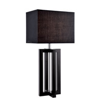 Lite Source Daire 1 Light CFL Table Lamp in Black Wood with Black Fabric Shade LS-21920