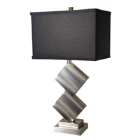 Lite Source Dewayne 1 Light CFL Table Lamp in Polished Steel with Black Fabric Shade LS-21929PS/BLK