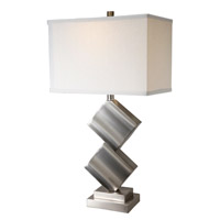 Lite Source Dewayne 1 Light CFL Table Lamp in Polished Steel with Off-White Fabric Shade LS-21929PS/WHT