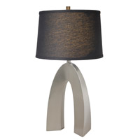 Lite Source Forster 1 Light CFL Table Lamp in Polished Steel with Black Fabric Shade LS-21931PS/BLK