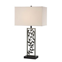 Lite Source Folha 1 Light Table Lamp in Antique Silver Bronze with Fabric Shade LS-21954