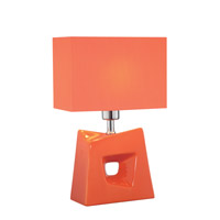 Lite Source Cynthia 1 Light CFL Table Lamp in Orange with Orange Fabric Shade LS-22047ORN