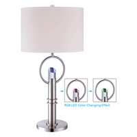 Lite Source Tazia 5 Light CFL Table Lamp in Polished Steel with Fabric Shade LS-22136