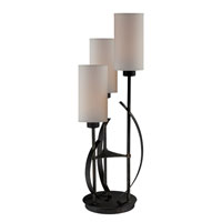 Lite Source Godana 3 Light Table Lamp in Antique Bronze with Linen Fabric Shade LS-22150