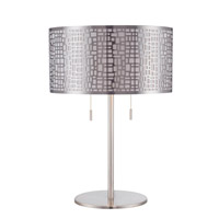 Lite Source Torre 2 Light CFL Table Lamp in Polished Steel with Metal Shade with Liner and Diffuser LS-22174PS
