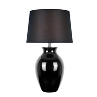 Lite Source Maya 1 Light CFL Table Lamp in Black Ceramic with Black Fabric Shade LS-22219BLK