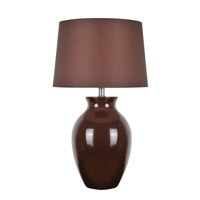 Lite Source Maya 1 Light CFL Table Lamp in Brown Ceramic with Brown Fabric Shade LS-22219BRN