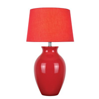 Lite Source Maya 1 Light CFL Table Lamp in Red Ceramic with Red Fabric Shade LS-22219RED
