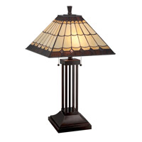 Lite Source Arty 2 Light CFL Table Lamp in Dark Bronze with Tiffany Shade LS-22260
