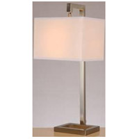 Lite Source LS-22283 Contento 27 inch 23 watt Polished Steel and White Table Lamp Portable Light, with 2 Power Outlets