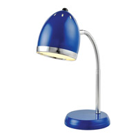 Zachary 16 inch 13 watt Blue and Chrome Desk Lamp Portable Light