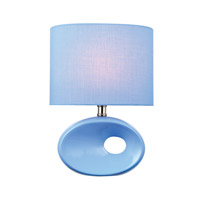 Lite Source Hennessy II 1 Light CFL Table Lamp in Blue Ceramic with Blue Fabric Shade LS-22315L/BLU