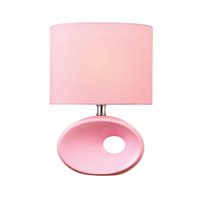 Lite Source Hennessy II 1 Light CFL Table Lamp in Pink Ceramic with Pink Fabric Shade LS-22315PINK