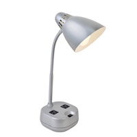 Lite Source LS-22375SILV Kade 17 inch 60 watt Silver Desk Lamp Portable Light, with 2 Power Outlets