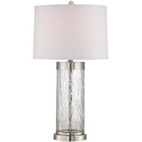 Lite Source Signature 2 Light Table Lamp in Polished Steel and Clear LS-22446