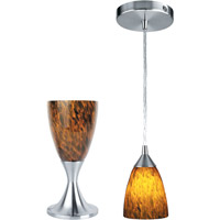 Lite Source Nucleus 2 Light Table Lamp in Polished Steel with Amber Glass LS-2248PS/AMB