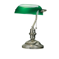 Lite Source Banker 1 Light CFL Desk Lamp in Antique Brass with Green Glass Shade LS-224AB
