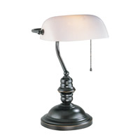 Lite Source LS-224D/BRZ Banker 15 inch 13 watt Dark Bronze Desk Lamp Portable Light