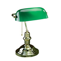 Lite Source Banker 1 Light CFL Desk Lamp in Polished Brass with Green Glass Shade LS-224PB