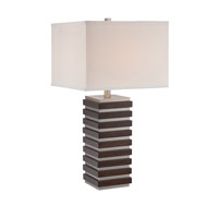 Lite Source LS-22674 Dante 28 inch 150 watt Polished Steel and Dark Walnut Table Lamp Portable Light