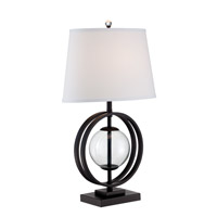 Lite Source Herbert 1 Light Table Lamp in Black/Clear Glass LS-22687