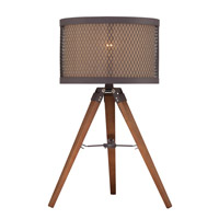 Lite Source LS-22797 Macyn 23 inch 13 watt Natural Wood and Aged Rust Table Lamp Portable Light