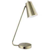 Lite Source LS-23194AB Mccoy 24 inch 60 watt Antique Brass Desk Lamp Portable Light with USB Port