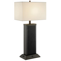 Lite Source LS-23219 Darrion 30 inch 60 watt Black Table Lamp Portable Light with USB Port and Power Outlet