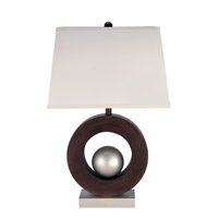 Lite Source LS-2449 Circuline 29 inch 32 watt Satin Steel and Dark Walnut Table Lamp Portable Light