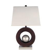 Lite Source LS-2449 Circuline 30 inch 150 watt Dark Walnut and Satin Steel Table Lamp Portable Light