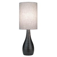 Lite Source Quatro 1 Light CFL Table Lamp in Brushed Dark Bronze with Linen Shade LS-2996
