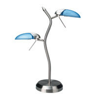 Lite Source Dancer 2 Light Table Lamp in Polished Steel with Light Blue LS-309PS/L/BLU